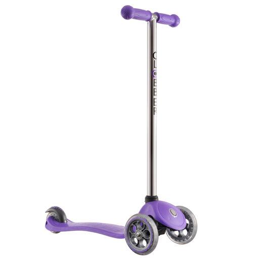 Тротинетка за деца - лилава с кормило в цвят металик