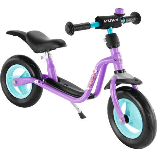 Лилаво колело без педали за баланс в комплект със звънец, степенка и калници. Немско качество с 5 години гаранция