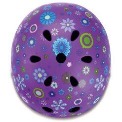 Каска за деца - лилава с флорални мо