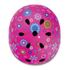 Каска за деца с цветя. Розова на цвят.