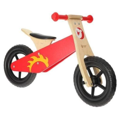 Дървено колело за баланс - червено
