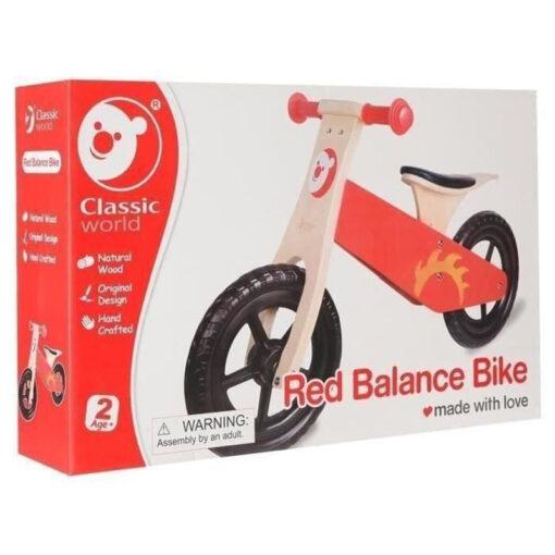Червено колело за баланс от дърво