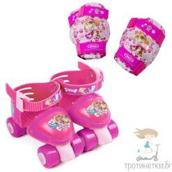 Ролкови кънки за момичета с наколенки Пес Патрул - розови