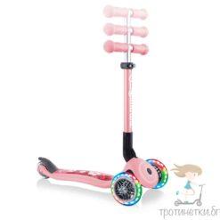 Сгъваема тротинетка Globber Fantasy със светещи колела в пастелно розов цвят