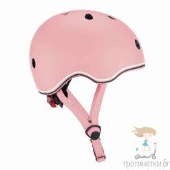 Предпазна детска каска за колело и тротинетка в пастелно розово