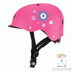 Защитна светеща каска на марката Globber в розов цвят