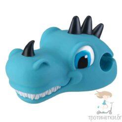 Аксесоар за детска тротинетка - син динозавър, поставящ се на кормилото