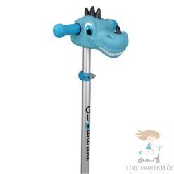 Аксесоар за детска тротинетка, поставящ се на кормилото син динозавър
