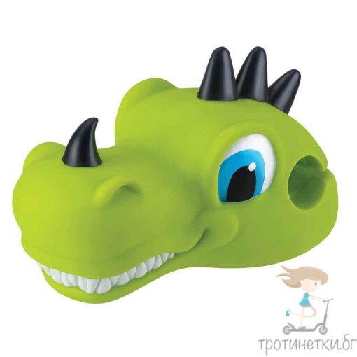 Аксесоар за кормило на тротинетка с три колела за деца на марката Globber във формата на зелен динозавър