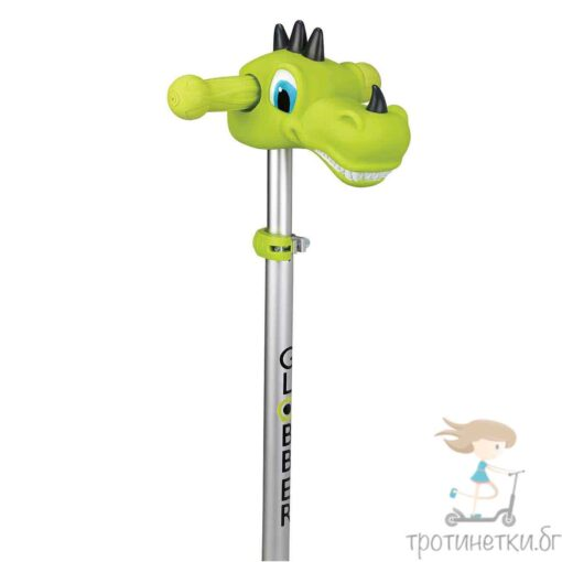 Аксесоар за кормило на тротинетка - динозавър в актуалния лайм зелен цвят на марката Globber